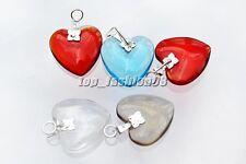 Wholesale 10pcs crystal murano glass heart silver P beads pendants jewelry FREE