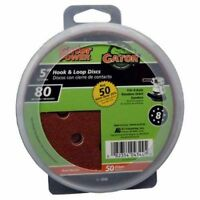 ALI INDUSTRIES 4344 8 Hole Hook and Loop 80 Grit Disc, 5-Inch, 50-Pack
