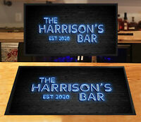 Personalised Blue Neon effect Retro Cocktail Bar runner Beer mats