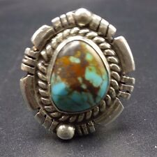 Vintage NAVAJO Sterling Silver & TURQUOISE RING, size 8.5, Wide Split Shank Band