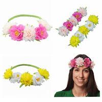 Ladies Flower Boho Festival Wedding Garland Forehead Headband Elastic Hair Band