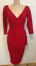 BEAUTIFUL RED TEXTURED PLUNGE NECK BODYCON WIGGLE PENCIL DRESS SIZE 8-14