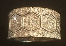 14k Solid White Gold .63ct Diamond Wedding Band Ring Weighing 7 Grams Size 6
