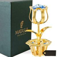 New 24k Gold Plated Tulip Flower Gift for Mother's Day w/ Blue Matashi Crystals