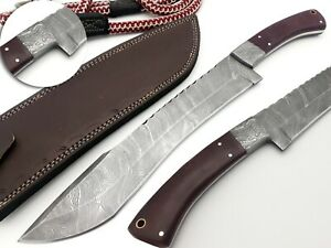 Hand Forged Damascus Utility Fixed Blade Machete Knife Full Tang handle 38cm