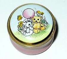 CRUMMLES ENAMEL BOX - TEDDY BEAR & BUNNY & PINK BALLOON - BABY GIRL - TOYS