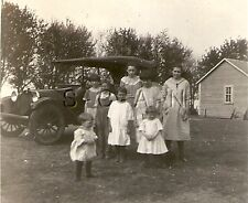 Vintage Real Photo- Model T Type Car- Aunt Mollie and her Girls- 1910s-20s