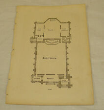 1872 Antique Print/PLAN OF SOUTH CHURCH, NEW BRITAIN, CT
