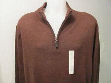 NEW LT LG TALL TURNBURY 100% Merino Wool 1/4 Zip Mock Neck Sweater BROWN $70