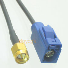 Cable Fakra SMB female C 5005 blue to SMA male plug RG174 Jumper pigtail 6""