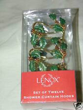 Lenox Holly Shower Curtain Hooks NIB Set of 12
