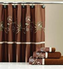 Delilah Chocolate Floral Shower Curtain W/ Hooks