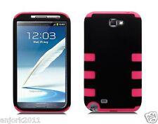 Samsung Galaxy Note II 2 Hybrid T Armor Case Skin Cover Black Hot Pink
