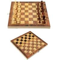 FOLDING WOODEN CHESS SET Board Game Checkers Backgammon Draughts Large travel IQ
