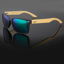 Polarized Classic Vintage Sunglasses Mens Womens Half Wood Frame