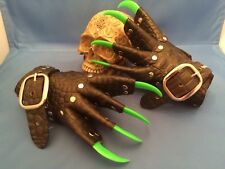Green Dragon Leather Neon Green Claw Gauntlets Gothic Gloves