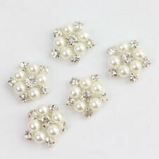 New 5Pcs Rhinestone Faux Pearl Flower Applique Wedding Clothes Decor Sewing