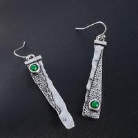 Handmade Women Thai 925 Silver Emerald Hook Asymmetry Dangle Earrings Jewelry