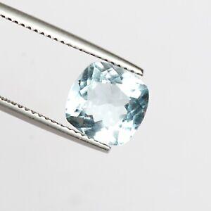 Faceted Cushion Cut 3.50 Ct. 100% Natural Clean Blue Aquamarine Loose Stone