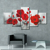 5PCS Red Poppy/Rose Flower Canvas-Printed Art Painting Picture Home Wall Decor