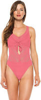 BECCA Women's Color Play Tie Front One Piece Swimsuit sz M Medium Swimwear