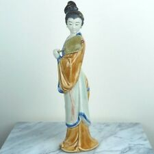 "Traditional Chinese Lady Woman w/ Fan in Orange Dress Porcelain Figurine 11""H"