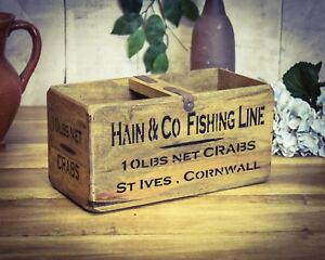 Vintage antiqued wooden box, crate, trug, St Ives Cornwall Fish Box