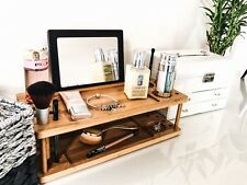 LaVue Beauty Station | Vanity Tray | Make-up Wood Organizer with Mirror