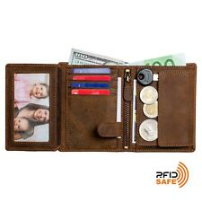 DiLoro Men's Large Leather Wallet 2.0 Vertical Bifold Coin RFID Safe Dark Brown