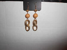 Paparazzi Earrings (new) GOLD LOOPS W/SOLID & CRYSTAL LIGHT BROWN BEADS