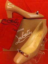 NIB LOUBOUTIN PYRAMIDAME 45 NUDE PATENT LEATHER GOLD SPIKES PUMPS 39 $695