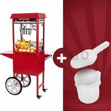 Retro Popcornmaschine Popcornmaker Popcornautomat 1600W 5kg/h Rot mit Wagen