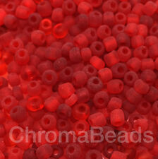 50g glass seed beads - Red Frosted - approx 3mm (size 8/0), craft