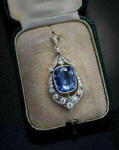 12 Ct Cushion Cut Sapphire & Diamond Vintage Art Deco Pendant 14K White Gold GP
