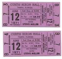 Steve Miller Concert Ticket Set of 2 1971 Tampa Purple