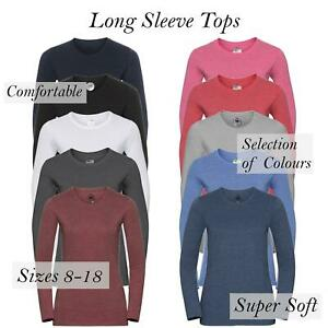 Womens Ladies Plain Long Sleeve T-Shirt Top Fitted Stretch Basic Casual Cotton