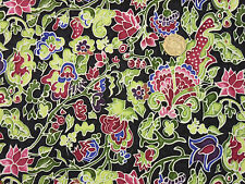 Quilting Fabric Moon Flowers Red Blue Purple Green Flowers Black BG FQs | BKF14