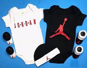 AIR JORDAN Baby BOYS Bodysuits/Rompers, Booties & Hat: 5-pc GIFT SET 0-6 Months.