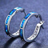 Opal Creolen Klapp Stein Silber Farbe Ohrringe Damen Frauen Ohrschmuck