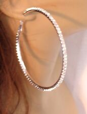 LARGE 3.25 INCH HOOP EARRINGS CRYSTAL HOOPS RHINESTONE SILVER RHODIUM THIN HOOPS