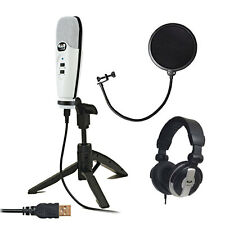 CAD U37 WHITE USB Studio Vocal Recording Mic Package +Pop Filter +Headphones