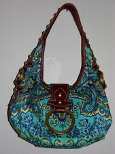 """Isabella Fiore"" Medium leather studded strap, Turquoise paisley print handbag"