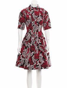 New Oscar de la Renta Black Red Lilly Fit Flare JACQUARD DRESS 4 6 8