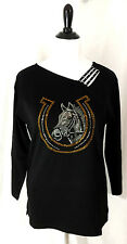 Women's Black Size 2X Horse Western Cowgirl Bling Embellished T-Shirt Tee Top