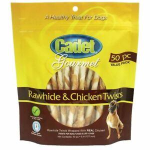 Cadet Premium Gourmet Rawhide and Chicken Twists Treats 50 pack