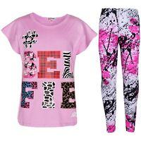 Kids Girls Tops Selfie Print Trendy Lilac T Shirt Top & Fashion Legging Set 7-13