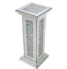 Diamond Crush Crystal Square Silver Mirrored Pillar Side Table 76cm Tall