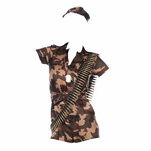 Army Girl Costume Khaki Camo Soldier Uniform Fancy Dress Outfit Womens 6 - 16