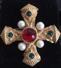 Vintage Gerard Yosca Signed Maltese Cross Brooch Pin Big Gold Red Green Pearl