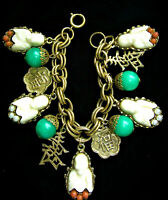 RARE**VINTAGE ASIAN BUDDHA PAGODA FAUX PEARL CORAL GOLD TONE CHARMS BRACELET AD9